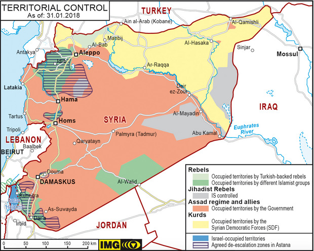 Territorial Control Map of Syria, 31.01.2018