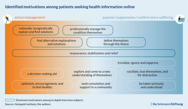 A chart shows the various motivations that lead patients to search for health information online.