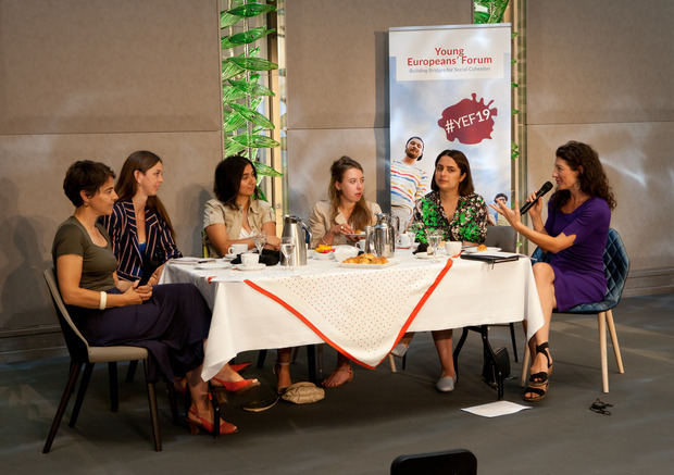 "Panel of four young women of the Forbes list ""30 under 30 Europe"" at the YEF19 on June 27, 2019."