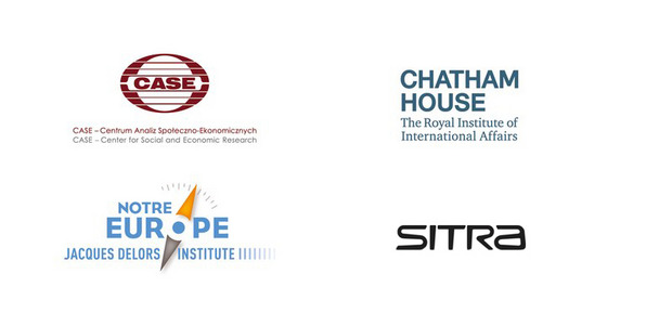 Logos of CASE, Chatham House, Notre Europe and Sitra