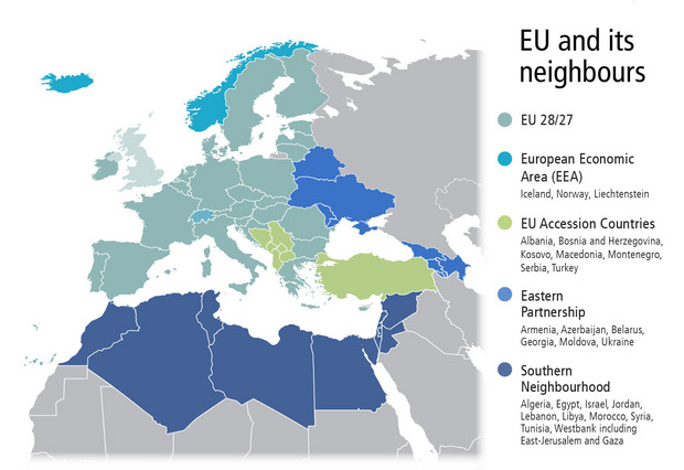 Map of the states in the EU neighbourhood.