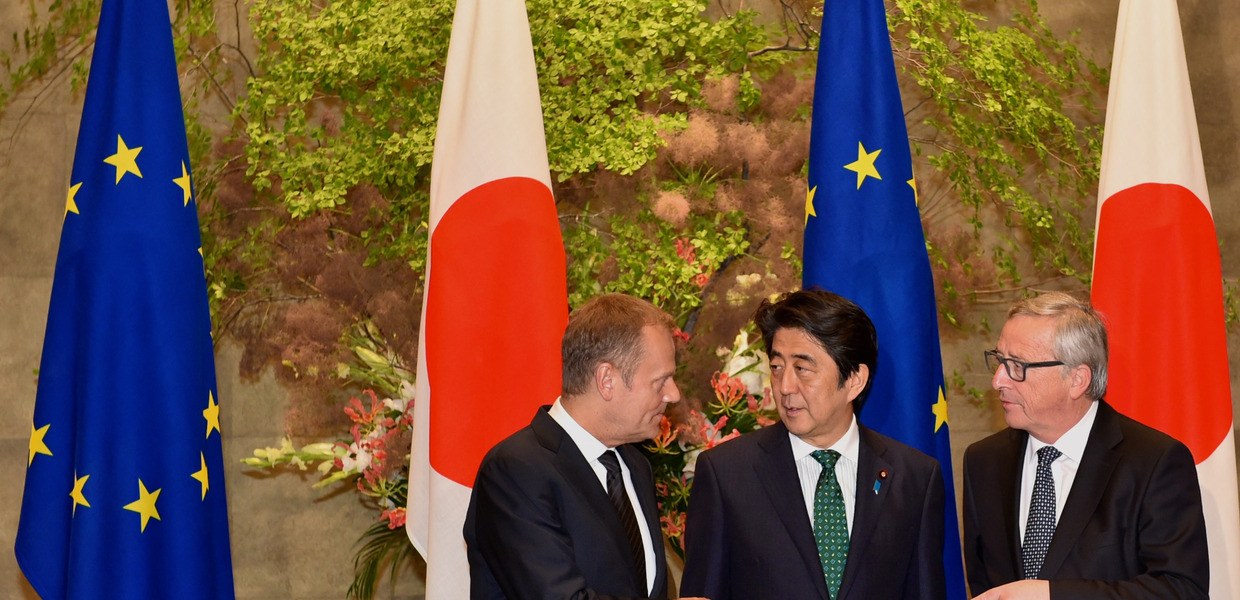 Tusk, Abe and Juncker