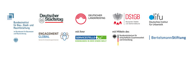 The logo of the Federal Institute for Construction, Urban and Spatial Research, Deutscher Städtetag, Deutscher Landkreistag, Deutscher Städte- und Gemeindebund, German Institute for Urban Affairs, Engagement Global, Service Agency Communities in One World, Federal Ministry for Economic Cooperation and Development and the Bertelsmann Stiftung.
