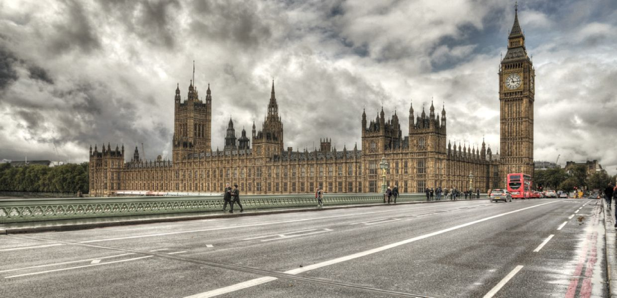 View at the British Parliament in London.