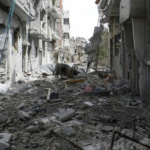 Destroyed street in Homs, Syria