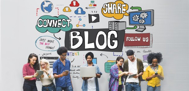 Young people of different origin, blogging